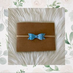 👑Blue Shimmery Bow on Nylon or Clip In!